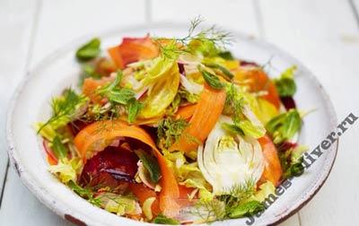 Овощной салат с лимонной заправкой для детей